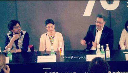انوپ سینگ و گلشیفته فراهانی در نشست خبرى آوازِ عقربها در جشنواره لوکارنو