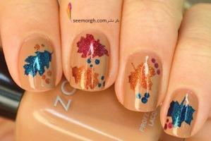 طراحی ناخن با برگ های پاییزی، یک ایده زیبا برای طراحی روی ناخن