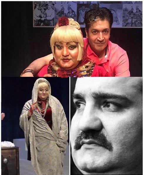 میرطاهر مظلومی با گریم و لباس زنانه در بنگاه تئاترال