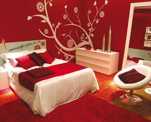 دکوراسیون اتاق خواب با رنگ قرمز روشن