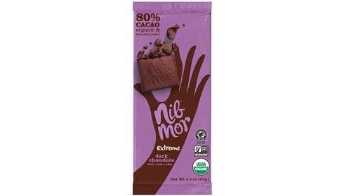 بارهای کاکائوی ارگانیک 80% با مغز دانه کاکائو نیبمور