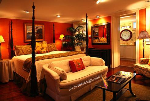 دکوراسیون اتاق خواب با رنگ پرتقالی