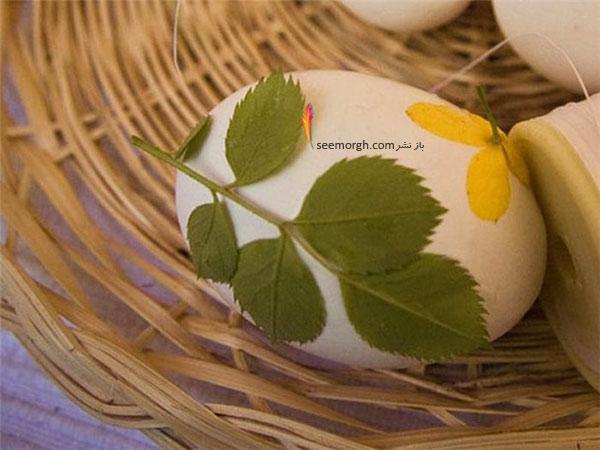 تزیین تخم مرغ,تزیین تخم مرغ هفت سین,تزیین تخم مرغ هفت سین با برگ های طبیعی