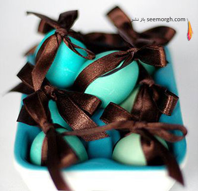 تزیین تخم مرغ,تزیین تخم مرغ هفت سین,تزیین تخم مرغ سفره هفت سین,تزیین تخم مرغ هفت سین با روبان های رنگی برای نوروز - مدل شماره 11