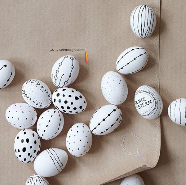 تخم مرغ هفت سین,تزیین تخم مرغ هفت سین,تزیین تخم مرغ هفت سین برای نوروز,تزیین تخم مرغ هفت سین با طراح های سیاه و سفید برای نوروز - تزیین شماره 8