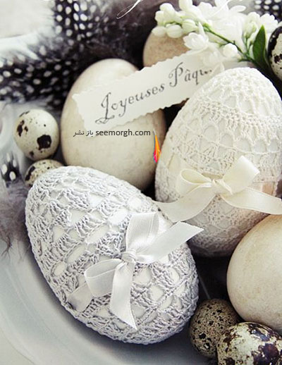 تزیین تخم مرغ,تزیین تخم مرغ هفت سین,تزیین تخم مرغ سفره هفت سین,تزیین تخم مرغ هفت سین با روبان های رنگی برای نوروز - مدل شماره 7