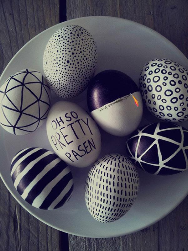 تخم مرغ هفت سین,تزیین تخم مرغ هفت سین,تزیین تخم مرغ هفت سین برای نوروز,تزیین تخم مرغ هفت سین با طراح های سیاه و سفید برای نوروز - تزیین شماره 10