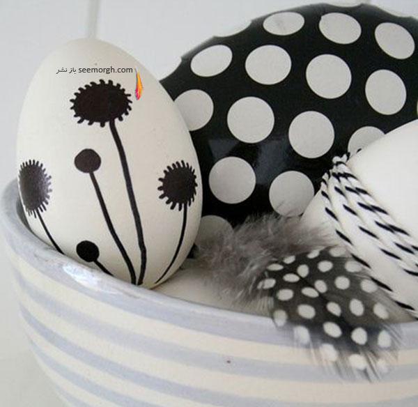 تخم مرغ هفت سین,تزیین تخم مرغ هفت سین,تزیین تخم مرغ هفت سین برای نوروز,تزیین تخم مرغ هفت سین با طراح های سیاه و سفید برای نوروز - تزیین شماره 4