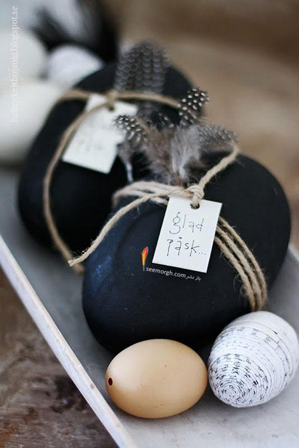 تزیین تخم مرغ,تزیین تخم مرغ هفت سین,تزیین تخم مرغ سفره هفت سین,تزیین تخم مرغ هفت سین با روبان های رنگی برای نوروز - مدل شماره 2