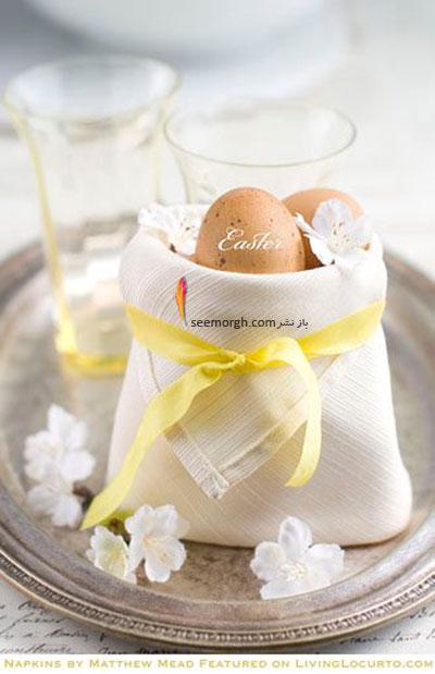 تزیین تخم مرغ,تزیین تخم مرغ هفت سین,تزیین تخم مرغ سفره هفت سین,تزیین تخم مرغ هفت سین با روبان های رنگی برای نوروز - مدل شماره 3