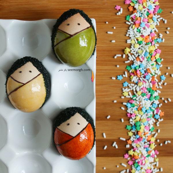 تزیین تخم مرغ هفت سین به شکل کوکشی برای نوروز