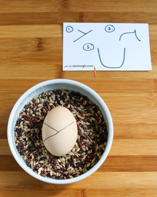 مرحله سوم برای تزیین تخم مرغ هفت سین به شکل کوکشی