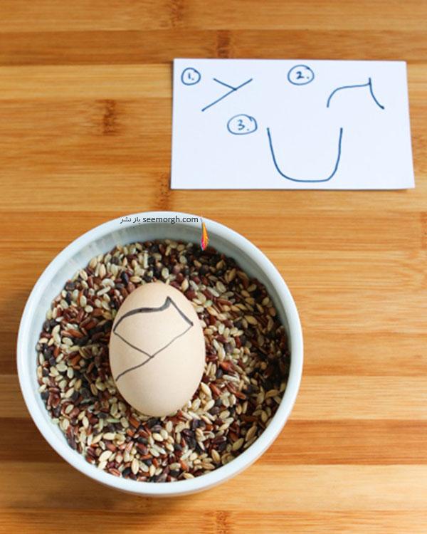مرحله چهارم برای تزیین تخم مرغ هفت سین به شکل کوکشی