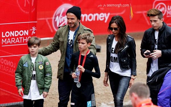 بکام و خانواده اش در مسابقات مینی ماراتن لندن