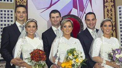 مراسم ازدواج خواهران سه قلو در یک روز با شباهتی دیدنی!! + عکس