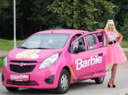 ماشین تاتیانا با طرح صورت باربی