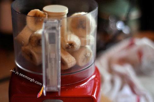 مرحله چهارم درست کردن بستنی رژیمی با موز :