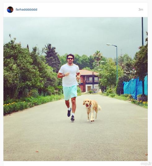 فرهاد مجیدی در کنار سگش + عکس!