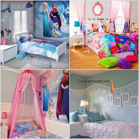 دکوراسیون اتاق کودک دخترانه به شکل پرنسس یخی Frozen