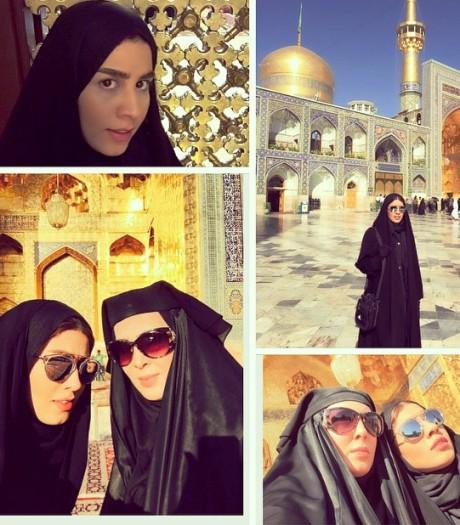 لیلا بلوکات و خواهرش در مشهد مقدس