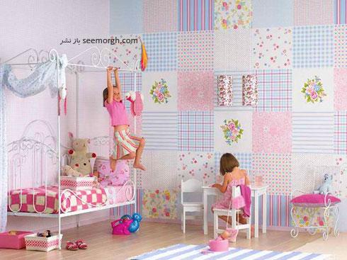 کاغذی دیواری اتاق کودک با طرح های دخترانه