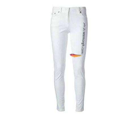 شلوار جین سفید مات برای تابستان