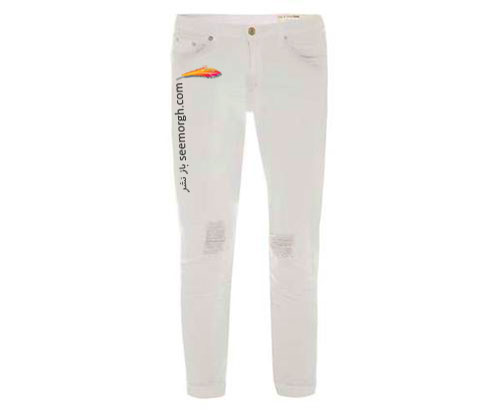 شلوار جین سفید طرح دار برای تابستان