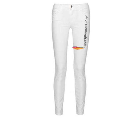 شلوار جین سفید تنگ برای تابستان