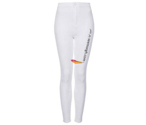 شلوار جین سفید جذب فاق بلند برای تابستان