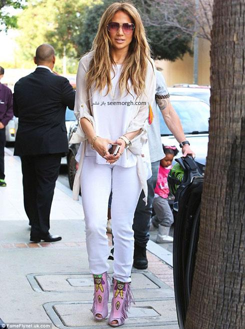 جنیفر لوپز Jennifer Lopez با شلوار جین سفید تنگ تابستانی