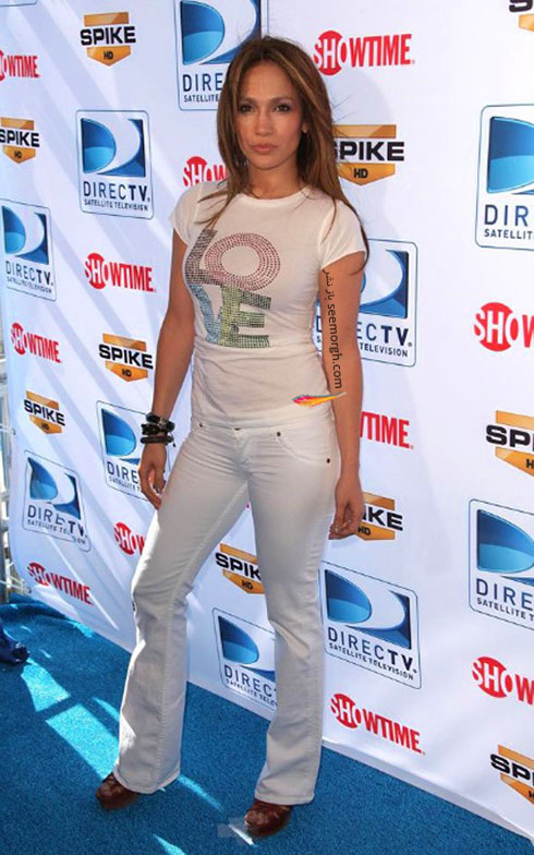 جنیفر لوپز Jennifer Lopez با شلوار جین سفید مات تابستانی
