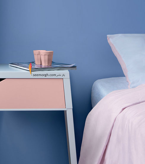 ترکیب رنگ آبی روشن Serenity و صورتی کوارتز Rose Quartz در دکوراسیون