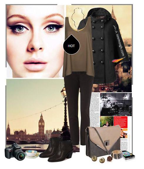 ست لباس پاییزی قهوه ای به سبک ادل Adele