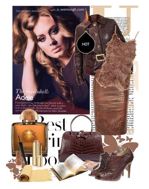 ست کردن لباس پاییزی چرم به سبک ادل Adele