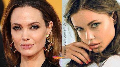 مدل روسی در سمت راست و آنجلینا جولی در سمت چپ