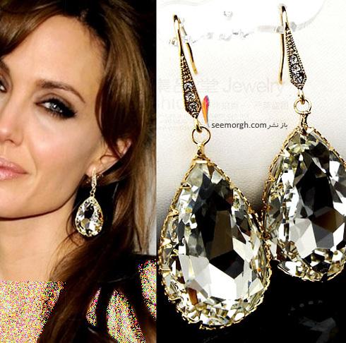گوشواره طلا با نگین الماس آنجلینا جولی Anjelina jolie