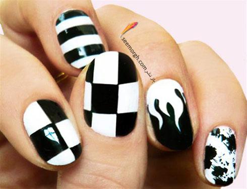 طراحی ناخن به رنگ سیاه و سفید شطرنجی