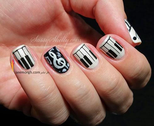 طراحی ناخن با طرح های نت موسیقی به رنگ سیاه و سفید