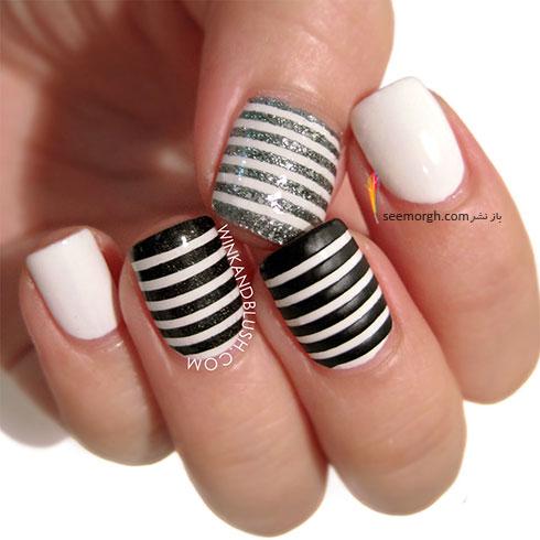 طراحی ناخن به رنگ سیاه و سفید با طرح های راه راه
