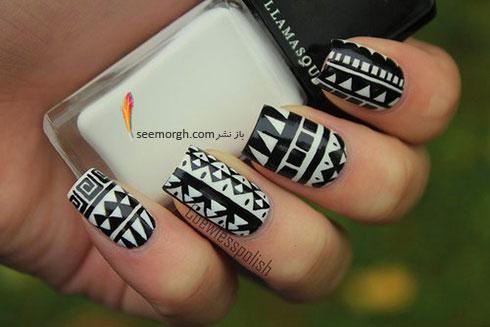 طراحی ناخن به رنگ سیاه و سفید با طرح های خاص