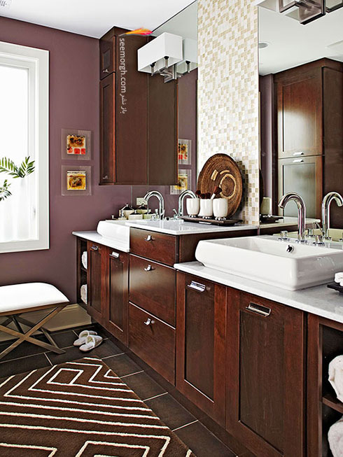 در دکوراسیون داخلی چه رنگهایی را با رنگ قهوه ای ست کنیم؟,ترکیب رنگ قهوه ای و ارغوانی در دکوراسیون داخلی