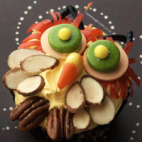 تزیین کاپ کیک به شکل جغد ترسناک