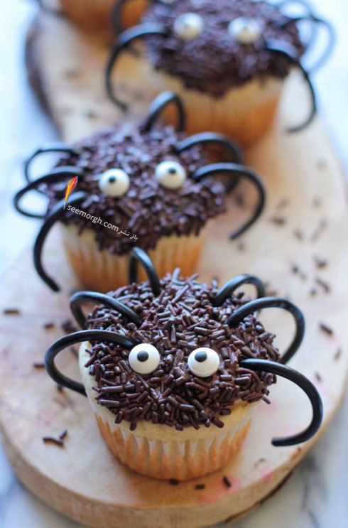 تزیین کاپ کیک به شکل عنکبوت