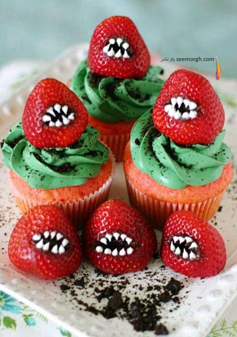 تزیین کاپ کیک با توت فرنگی های ترسناک