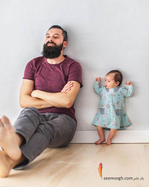 عکس جالب پدر و دختر