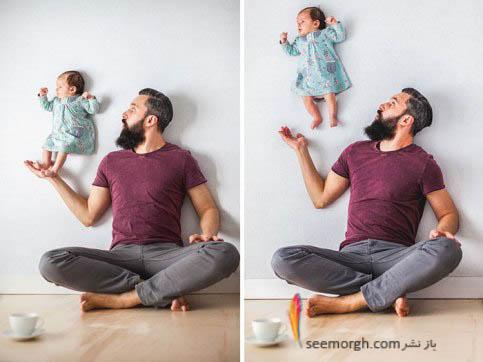 پرواز دختربچه در کنار پدر!