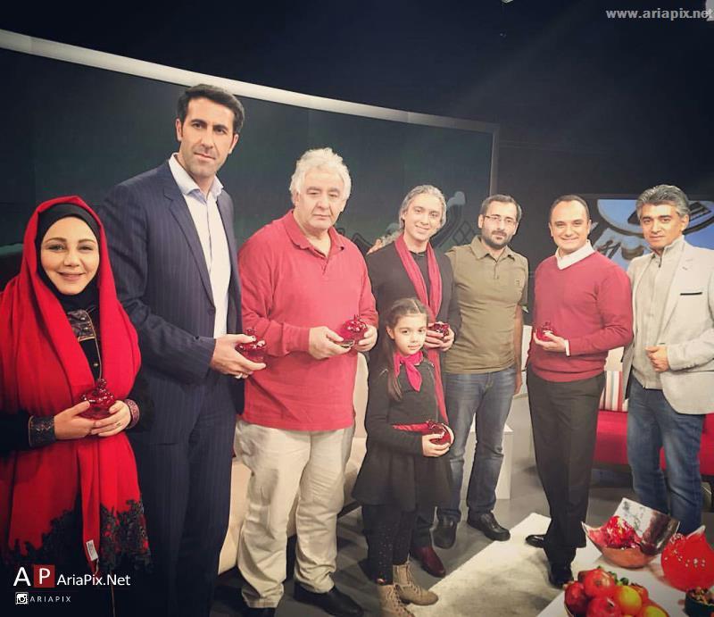 مازیار فلاحی و دخترش و احسان کرمی و بهنوش بختیاری در برنامه شب نشینی شبکه سه شب یلدا ۹۴