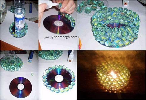 با سی دی های قدیمی یک جاشمعی زیبا درست کنید