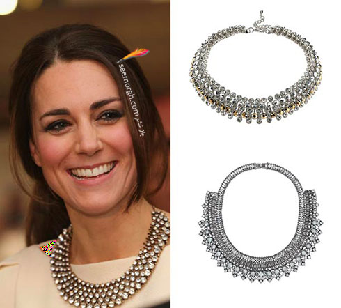 گردنبند پهن نگین دار کیت میدلتون Kate Middleton