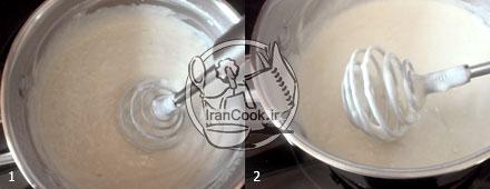 مرحله اول تهیه خامه فرم گرفته برای تزیین کیک